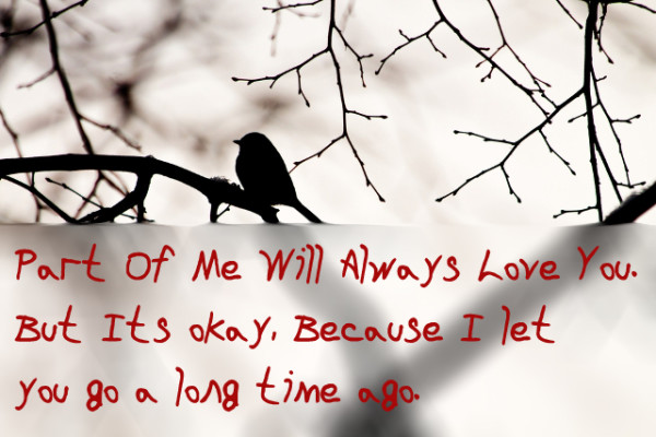 But Its okay, Because I let you go a long time ago.