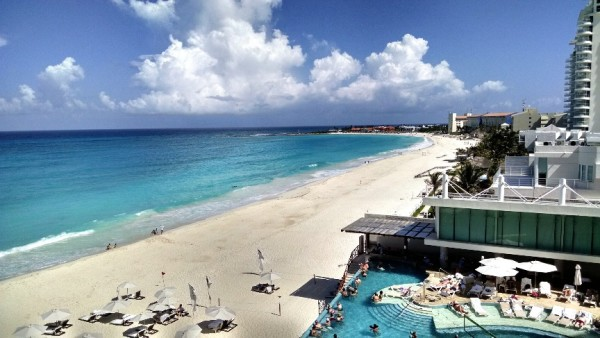 beach view from hotel in cancun
