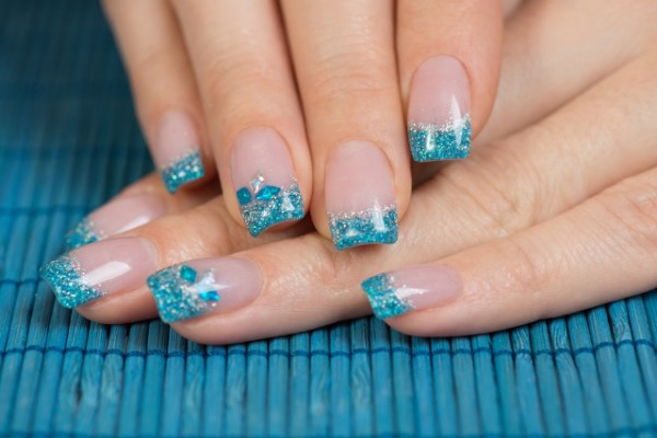 3D Turquoise Tip Nails