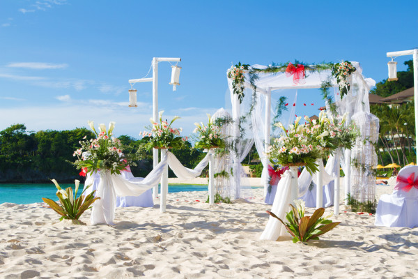 beautiful wedding ceremony on the beach