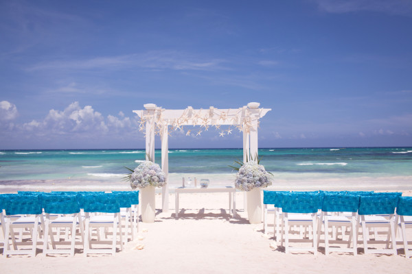 ocean blue outdoor beach wedding ceremony