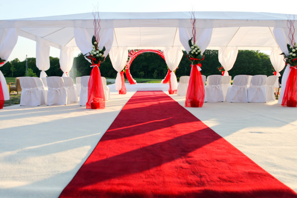 wedding ceremony on a park with red carpet