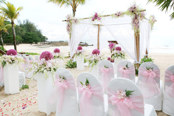 pink and purple wedding ceremony theme