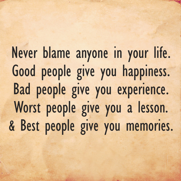 never blame people quote