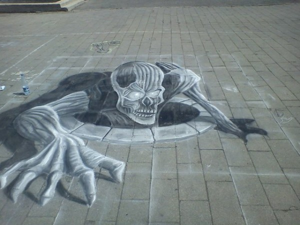 3D Street Drawing Creating Optical Illusion