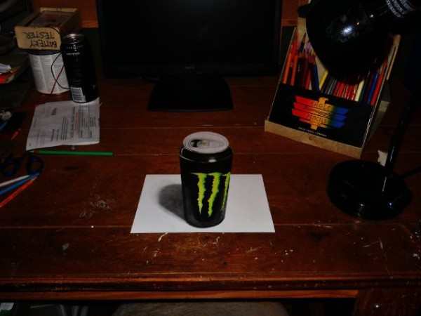 3d monster drink optical illusion